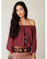 Free People | Red Pointelle Peasant Top | Lyst