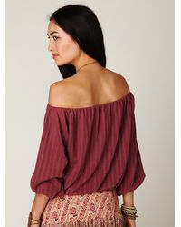 Free People - Red Pointelle Peasant Top - Lyst