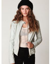 Free People - White Doma Leather Jacket - Lyst