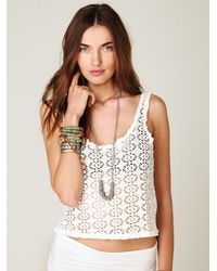 Free People | White Lace Cropped Top | Lyst