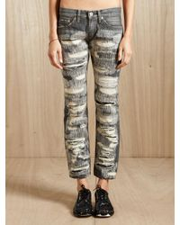 Junya Watanabe | Black Womens Distressed Patchwork Jeans | Lyst