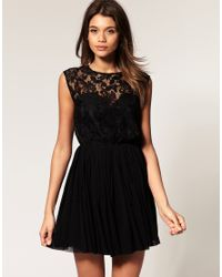 ASOS Collection - Black Asos Skater Dress with Lace and Mesh - Lyst