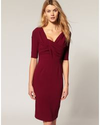 ASOS Collection | Red Asos Pencil Dress with Twist and Wrap | Lyst
