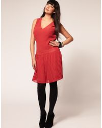 ASOS Collection - Pink Asos Curve Exclusive Dress with Pleated Drop Waist - Lyst