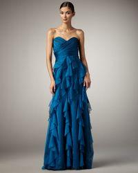 Badgley Mischka - Blue Ruffle-skirt Gown - Lyst