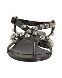 Balenciaga | Gray Anthracite Leather Studded Arena Flat Thong Sandals | Lyst