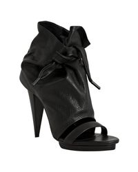 Balenciaga | Black Pebbled Leather Open Toe Ankle Boots | Lyst