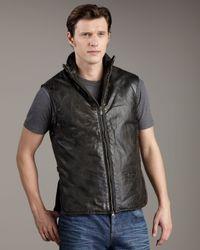 Belstaff - Black Leather Gilet for Men - Lyst