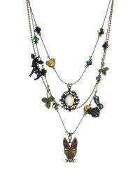 Betsey Johnson | Green Dark Forest Animal Charm Illusion Necklace | Lyst