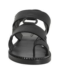 Bottega Veneta - Black Leather Slingback Flat Sandals - Lyst