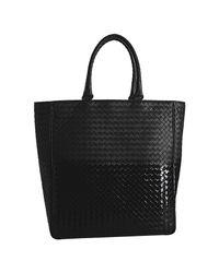 Bottega Veneta - Black Woven Leather Ombre Tote - Lyst