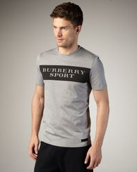 Burberry Sport | Logo Tee, Light Gray Melange for Men | Lyst