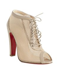 Christian Louboutin | Natural Beige Leather and Mesh Nikita 100 Lace-up Peeptoe Booties | Lyst