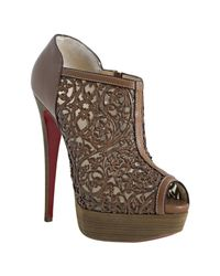 Christian Louboutin | Brown Cognac Leather Pampas 150 Laser Cut Peeptoe Booties | Lyst