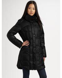 Cole Haan | Black Packable Puffer Coat | Lyst