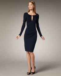 David Meister | Blue Beaded Jersey Dress | Lyst