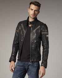 DIESEL | Black Lujon Leather Jacket for Men | Lyst