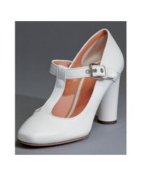 Dolce & Gabbana | White Leather T-strap Heels | Lyst