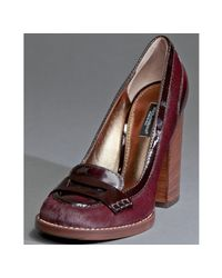 Dolce & Gabbana | Purple Wine Calf Hair and Patent Penny Loafer Pumps | Lyst