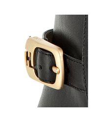 Fendi - Black Leather Logo Buckle Heeled Equestrian Boots - Lyst