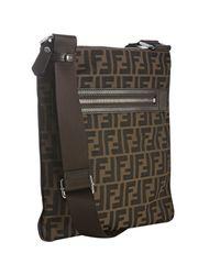 Fendi | Brown Tobacco Zucca Canvas Messenger Bag for Men | Lyst
