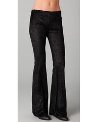Free People | Black Burnout Velvet Flare Pants | Lyst