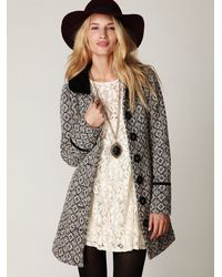 Free People - Black Retro Tapestry Coat - Lyst
