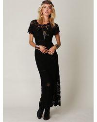 Free People - Black Hand Crochet Maxi Dress - Lyst