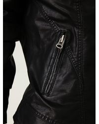 Free People | Black Hooded Vegan Leather Jacket | Lyst