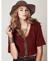 Free People - Red Cropped Cardigan - Lyst