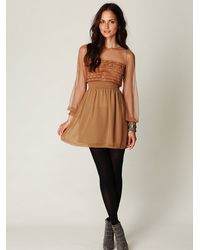 Free People | Brown Vintage Lace Long Sleeve Dress | Lyst