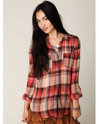 Free People | Multicolor Crochet Back Plaid Button Down | Lyst