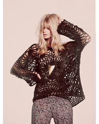 Free People | Brown Boxy Crochet Sweater | Lyst