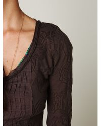 Free People - Brown Gypsy Buttonfront Long Sleeve Top - Lyst