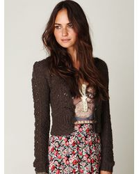 Free People | Brown Open Stitch Cardigan | Lyst