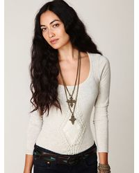 Free People | Natural Crochet Applique Long Sleeve Top | Lyst