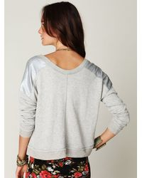 Free People - Gray Sequin Shoulder Pullover - Lyst