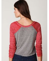 Free People | Gray Freedom Baseball Tee | Lyst