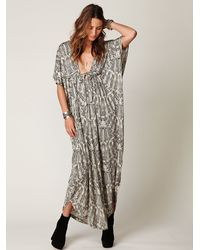 Free People - Gray Long Printed Kaftan Dress - Lyst