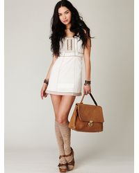 Free People - White Colorblock Shift Dress - Lyst