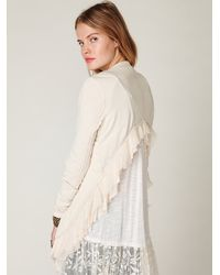 Free People | White Cropped Back Layered Jacket | Lyst