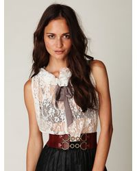 Free People - White Lovely Lace Tie Top - Lyst