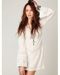 Free People | White On The V Crochet Tunic | Lyst