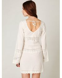 Free People - White On The V Crochet Tunic - Lyst