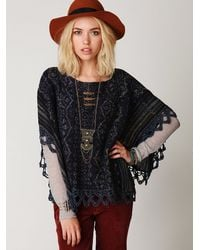 Free People | Blue Casablanca Cape | Lyst