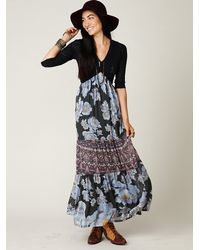 Free People - Blue Ethnic Rose Maxi Dress - Lyst