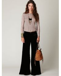 Free People - Green Fp Velvet Extreme Wideleg Pant - Lyst