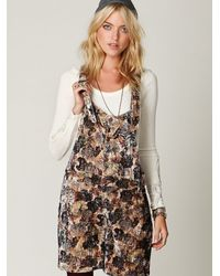 Free People | Multicolor Fp Floral Printed Velvet Overalls | Lyst
