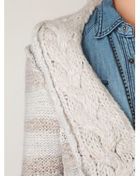 Free People - Natural Cozy Braided Cardi - Lyst