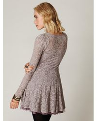 Free People - Gray Floral Lace Fit and Flare Dress - Lyst